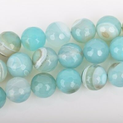 8mm Round Agate Beads, Robin's Egg BLUE Faceted Turquoise Blue AGATE gag0336 2