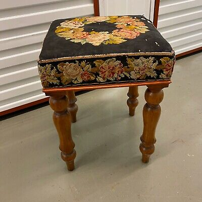🌟Shabby Antique Wooden Square Tapestry Top Stool Seat Chair 2