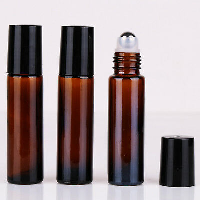 24X 10ml Amber THICK Glass Roller Bottles Big Steel Roll on Ball Essential Oils