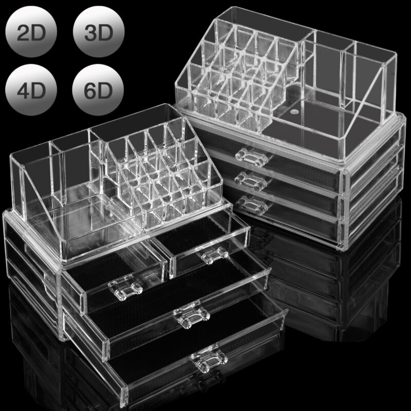 Clear Acrylic Cosmetic Organiser with Drawers Makeup Jewelry Display Box Case 4