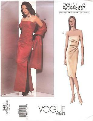 Bellville Sassoon PATTERN Vogue dress PROM gown to SEW 2481 S M 8 10 12 Gilda 2