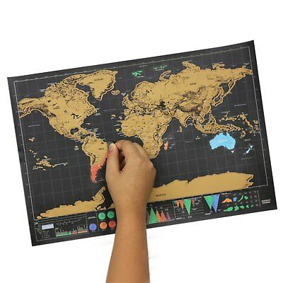 Scratch Off World Map Poster Interactive Travel Atlas Decor Large Deluxe Gift AU 6