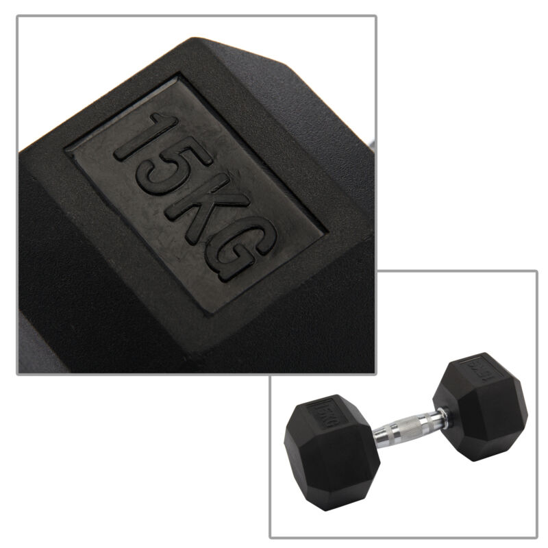 2X 8-15KG Rubber Encased Dumbbell Hex Weights Gym Fitness/Workout/Weight Lifting 8