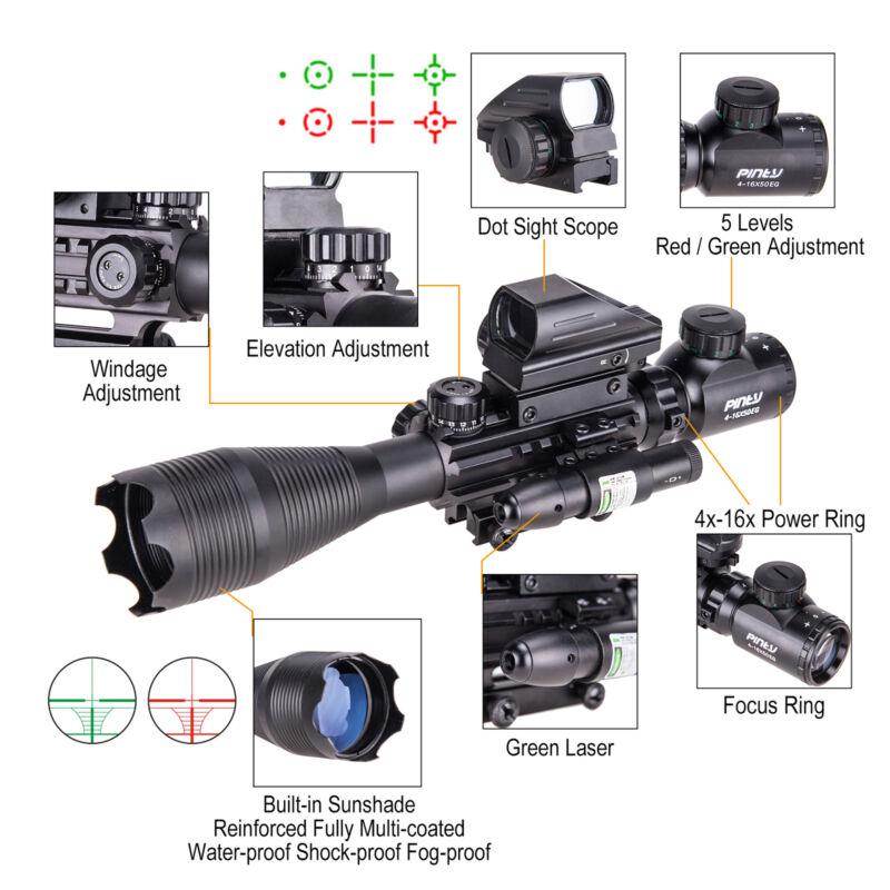 4-16x50 3in1 Combo Rangefinder Rifle Scope W/Green Laser &Reflex Dot Sight Scope 9