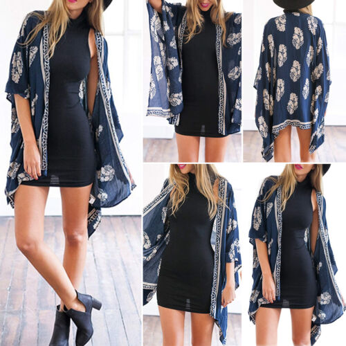 Womens Boho Floral Beach Cover Up Kimono Cardigan Jacket Tops Blouse Shawl 7