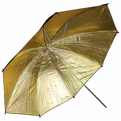 "33""/83cm Gold Black Reflector Soft Umbrella Diffuser Photo Flash Lighting Studio 5"