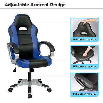 Executive Racing Gaming Office Chair PU Leather Swivel Sport Computer Desk Blue 5