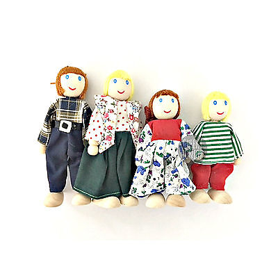 NEW Fun Factory Wooden Doll House Family of 4 White Ethnic Posable Dolls