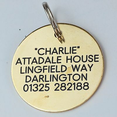 Quality Engraved Pet tag -Large 38mm circle Brass tag 2 • EUR 6,51