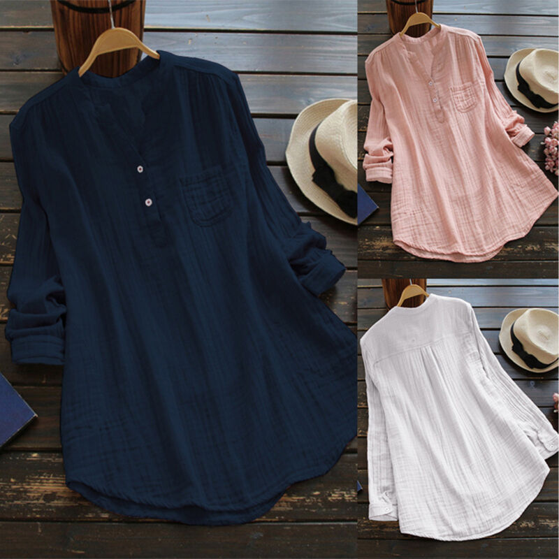 Womens V Neck Baggy Loose Cotton Tops T Shirt Plus Size Long Sleeve Tunic Blouse 2