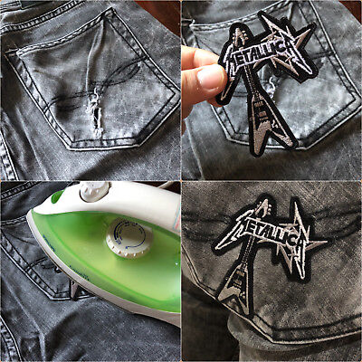 Skull Biker Rock Punk Retro Hardcore Tattoo Style Clothing Jeans Iron on Patch 4