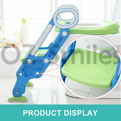 Kids Toilet Seat Ladder Baby Toddler Potty Training Step Trainer Non Slip Safety 3