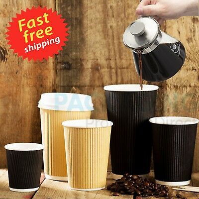8/10/12/16oz Insulated Ripple Disposable Paper Coffee Cups,Lids , UK SELLER 2