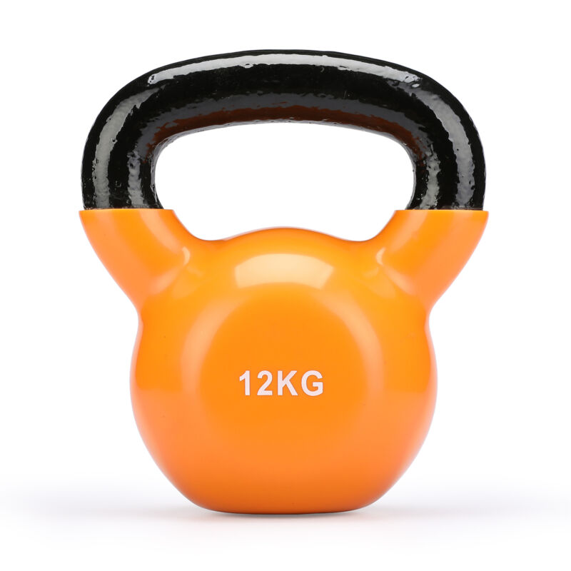 4KG-16KG CAST IRON KETTLEBELLS Vinyl WEIGHT EXERCISE STRENGTH GYM TRAINING 7