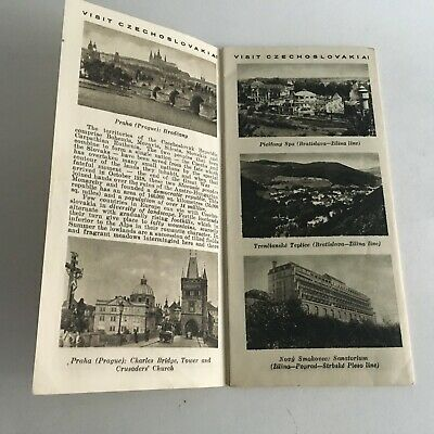 """Vintage 1960's Visitor's Guide Czechoslovakia Tourism 31.5"""" X 8"""" 4"""