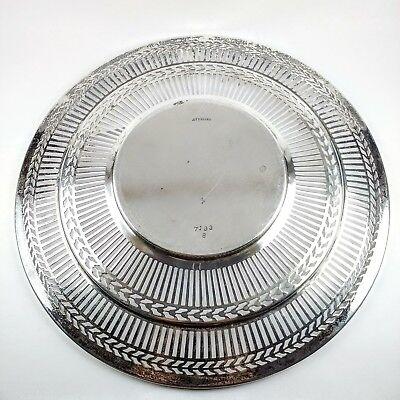 "Antique RARE Sterling Silver Watson Co. Wilcox & Wagoner Pierced 8"" Round Plate 3"