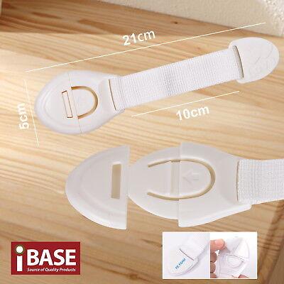 16x Child Adhesive Kid Baby Safety Drawer Door Lock Cupboard Cabinet Belt White 4