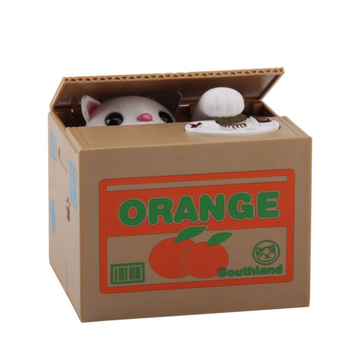 Panda Stealing Coin Money Cat Penny Cents Piggy Bank Saving Box Kids Gift UK