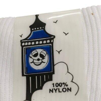 Girls Socks 100% Nylon 6 pairs Turn over top White. UK made 2