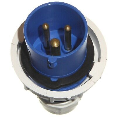 16A 3 Pin Plug IP67 Waterproof 2P+E 230V Fast-Fit 16 Amp Blue Marina Caravan 3