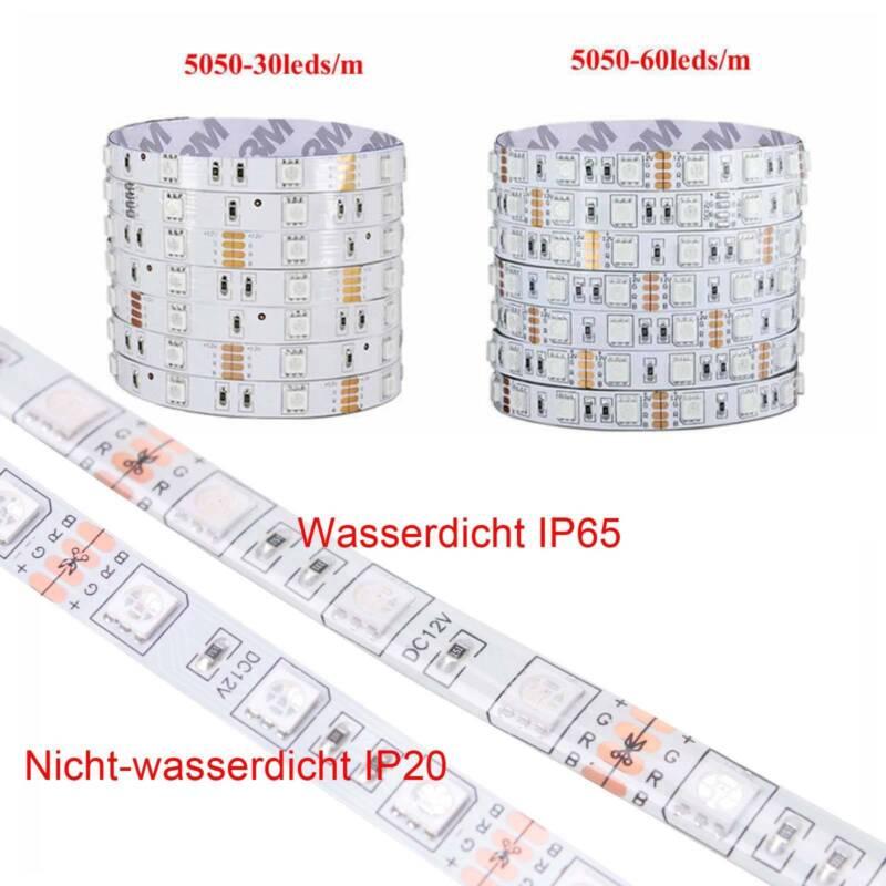5m-30m LED Stripe RGB Wasserdicht Leiste Streifen 5050 Band Leuchte Lichterkette 6