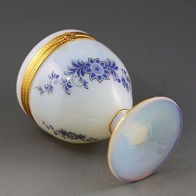 Antique French white opaline crystal glass Trinket Box Casket hinged lid ormolu 7