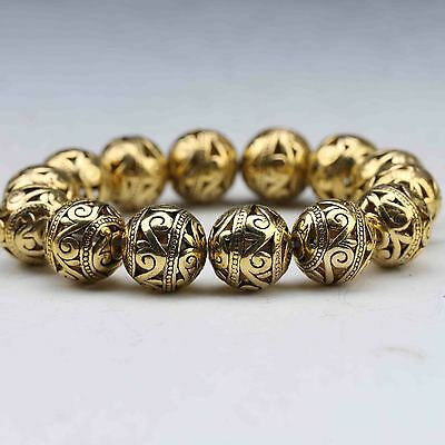 China Tibetan silver gilt Hand Carved Hollow out small ball Bracelet 2