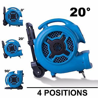 XPOWER P-830H 1 HP 3600 CFM Air Mover Carpet Dryer Fan Blower w/ Handle & Wheels