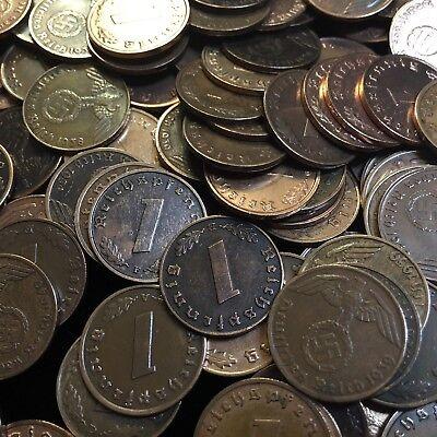 50 Coin Lot Rare WW2 German 1 RP Reichspfennig 3rd Reich Bronze Nazi Coins 9