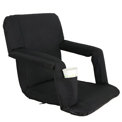 2 PCS Black Stadium Seat Bleacher Chair Cushion - 5 Reclining Positions 6