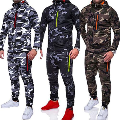 Mens Tracksuit Set Camouflage Hoodie Top Bottoms Jogger Gym Jogging Sports Suit