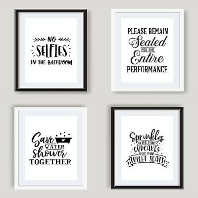 Funny Bathroom Wall Art Poster Black and White Bathroom Prints Toilet Pictures 4