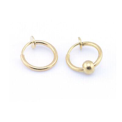Fake Clip On SPRING Nose Hoop Ring Ear Septum Lip Eyebrow Earrings BCR Piercing 3