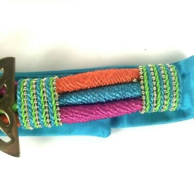 "Womans Designer Belt By Susan Maddox Atlanta Brass Fish Colorful Cord 28-36"" 4"