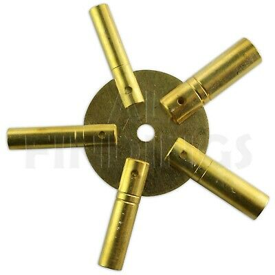 Set Of 2 Clock Winding Keys - All Sizes Brass Spider Star Pair - Odd And Even 3