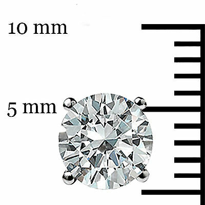 2.00 CT Round Earrings 14K Solid White Gold Basket Studs Brilliant Screw Back 7