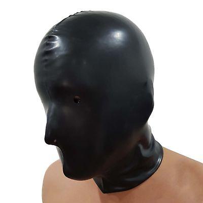 Brand New Black Latex Rubber Gummi Hood Mask (one size) 4