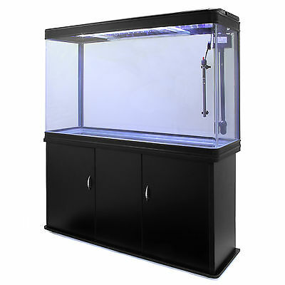 Fish Tank Cabinet Aquarium LED Light Tropical Marine Large Black 4ft 300 Litre 5
