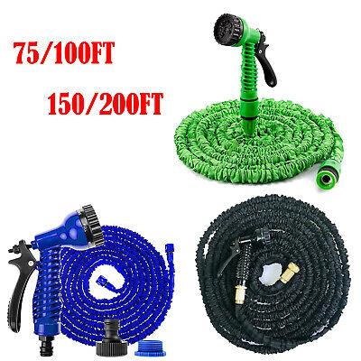 Expandable Flexible Garden Hose Pipe Expanding Fittings + 7 Setting Spray Gun Aa 2