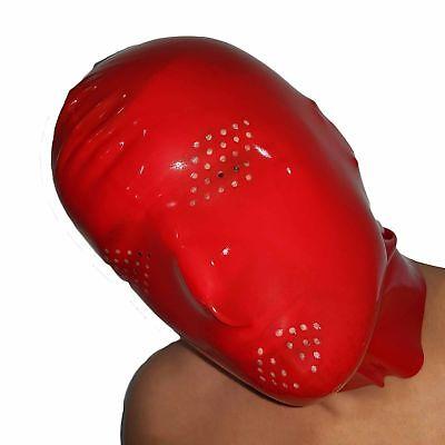 Perforierte Latex Maske aus Rubber in rot, Einheitsgröße 2