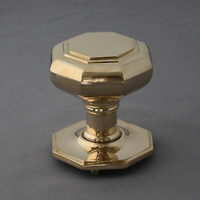 Large Georgian Style Brass Octagonal Door Pull 2