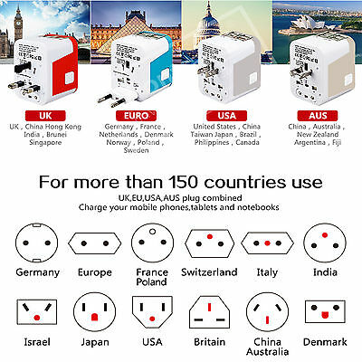 Universal Travel Adapter  USB Wall AC Power 240v 110v for AU EUROPE USA UK 4 USB 8