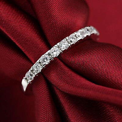 18K White Gold Gf Ladies Silver Eternity Band Wedding Ring W/ Simulated Diamond