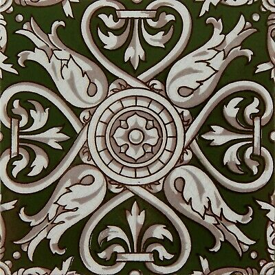 Antique Tile Victorian Aesthetic Gothic Arts Crafts Floral Lea Hearth Green Gray 2