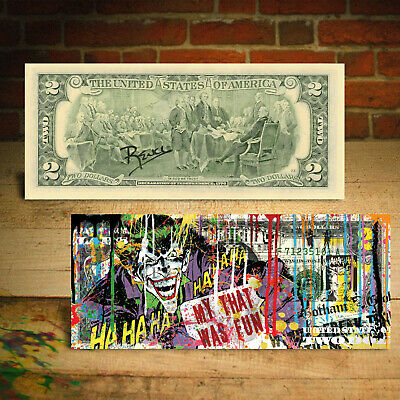 JOKER DC Comics Movie Genuine Legal Tender $2 U.S. Bill HAND-SIGNED by Rency 3