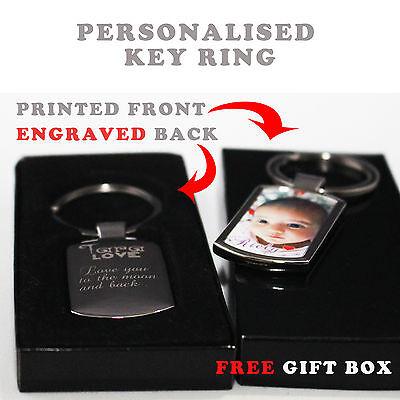 Personalised Custom Metal Keyring Photo Printed & Engraving on back Free Giftbox 9