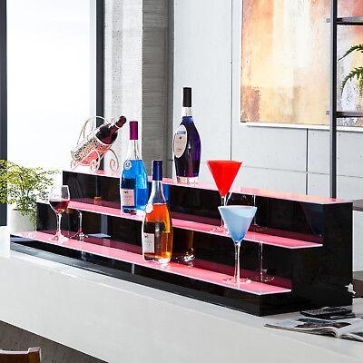 "60"" 3 Step Tier LED Lighted Back Bar Glowing Liquor Bottle Display Shelf Stand 11"