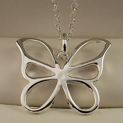 "Stamped 925 Sterling Silver Plt Butterfly Pendant 18"" Necklace Chain -144 3"