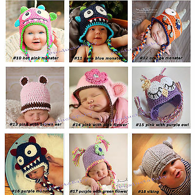 New Baby Boy Girl Crochet Beanie Costume Hat 0-3, 3-6, 6-12M,1-3Yrs Photo Props 3