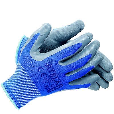 Arbeitshandschuhe Handschuhe Montagehandschuhe Latex Blau Grau Gr. 7-11 NEU TOP 4